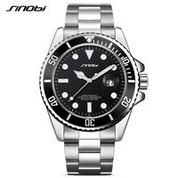 SINOBI Submariner Date Calendar Men Watches Business New Generation Rotatable Bezel Oyster Steel Bracelet Wristwatch Waterproof