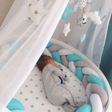 1.5M Length Knot Newborn Baby Bed Bumper Long Knotted Braid Infant Room  Crib Decor Bumpers