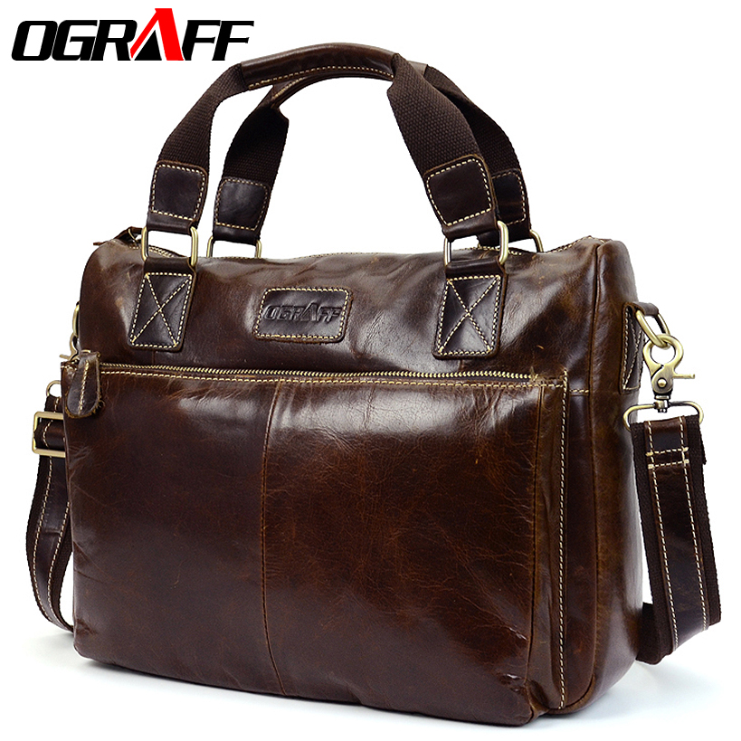 OGRAFF Men shoulder bag men genuine leather handbag design briefcase crossbody messenger bag men leather laptop tote travel bag bvp free shipping new men genuine leather men bag briefcase handbag men shoulder bag 14 laptop messenger bag j5