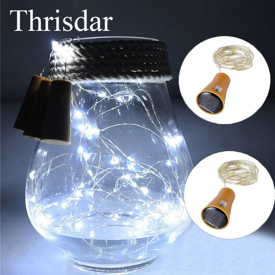 Thrisdar 20 шт./лот DIY Micro Медный провод Солнечный свет шнура 1 м 10LED бутылки вина Корк Фиксаторы Солнечная Фея Строки гирлянда