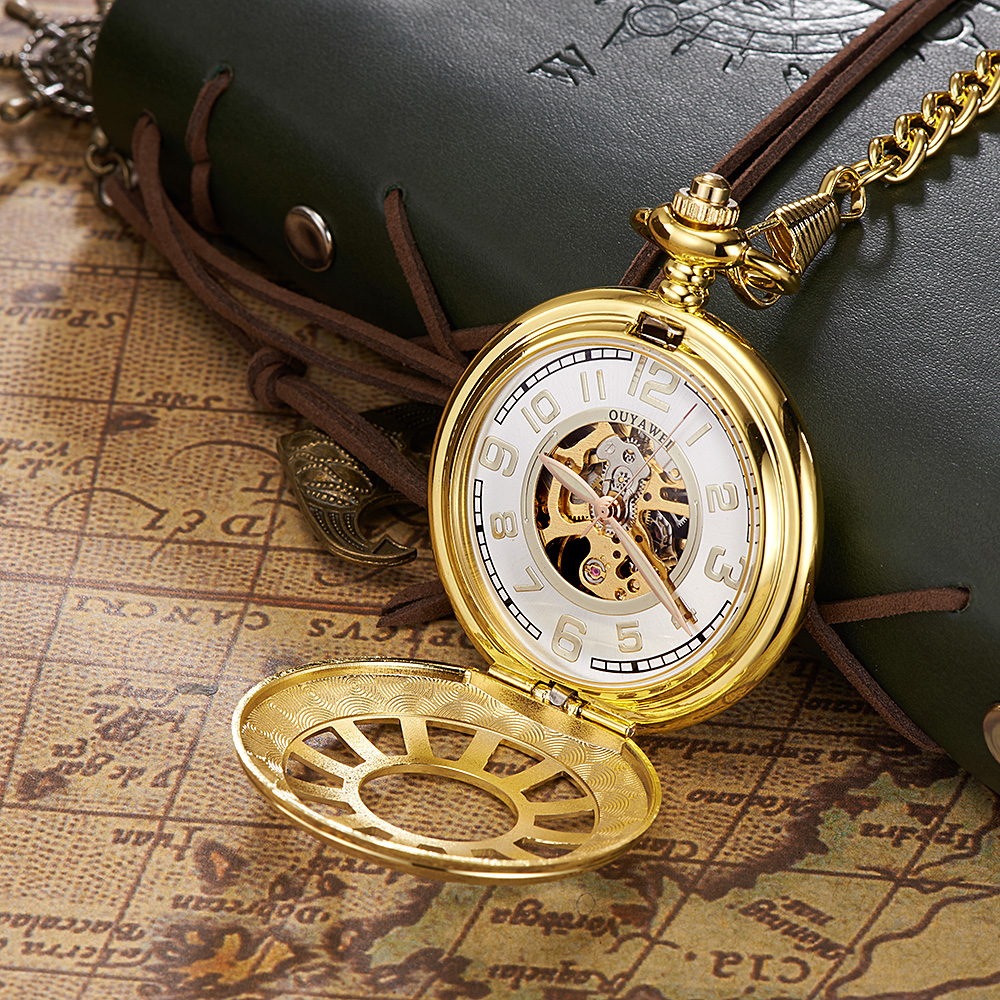 Luxury Brand OYW Full Steel Case Gold White Dial Pocket Watch Men Mechanical Hand Wind Pocket Fob Watch Pendant Watch Relogios