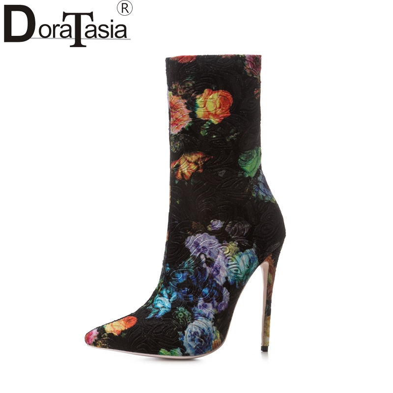 DoraTasia plus size 33-43 brand woman shoes women sexy top quality thin high heels flowers printing autumn winter ankle boots winter autumn high quality pu high heels women sexy v mouth high top high heeled shoes ladies stiletto pumps ankle boots woman