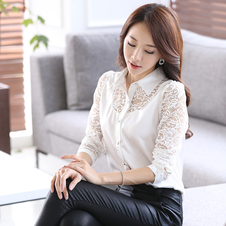 2016 long sleeve Satin Shirt Women white Satin Blouse Women silk ...