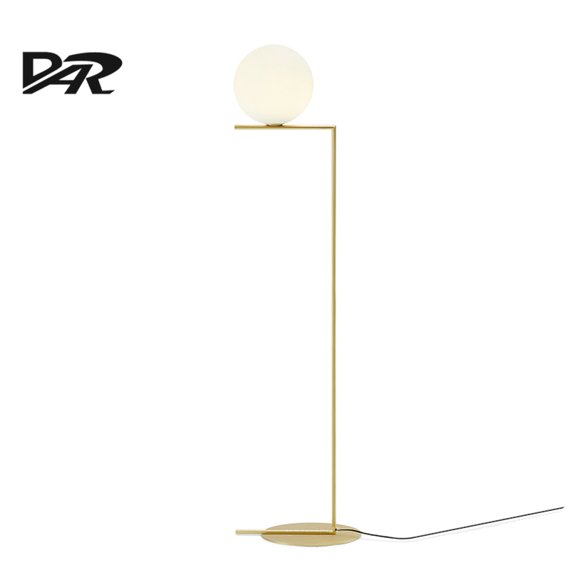 Modern creative led floor lamp glass lampshade gold ac 90 for Mexico led floor lamp