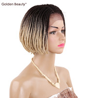 6 16inch Bob Synthetic Lace Front Wig With Baby Hair Ombre Colored Braided Box Braids Wigs