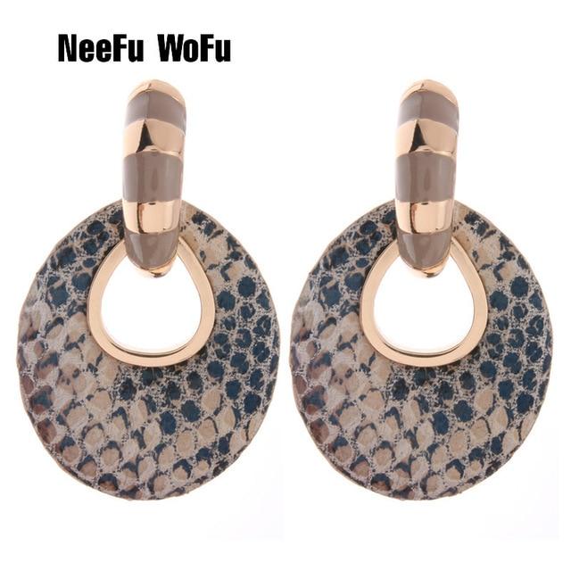WoFu NeeFu Big Brinco moda jóias anéis para as mulheres De Couro Impresso orecchini Oorbellen femme Grande Brinco Da Orelha do Dia Das Bruxas
