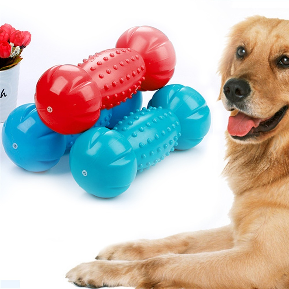 Large Dog Chew Toy Tpr Floating Sound Bones Dumbbel Dogs Interactive Security Lambswool Blue Red Squeak Funny Pet Toy