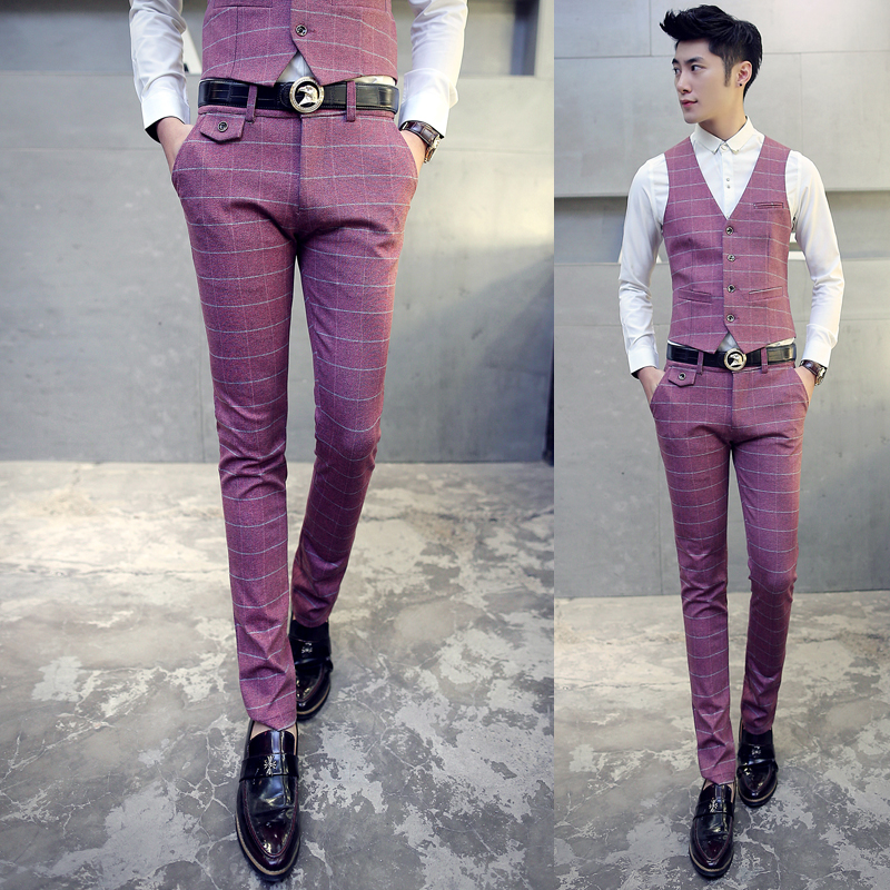 Men Plaid Formal Dress Pants Autumn Suit Thick Slim Casual Trousers Red Business Wedding High Quality In From S Clothing
