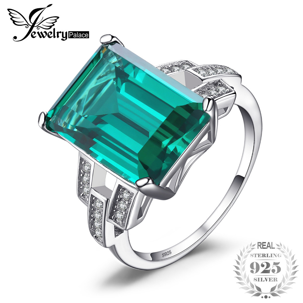 JewelryPalace Luxury 5.92 ct Created Emerald Wedding Bands Ring 925 Sterling Silver Fine Jewelry Women Fashion Classic Ring Gift jewelrypalace classic wedding solitaire ring for women pure 925 sterling silver simple wedding jewelry fashion gift