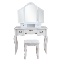 Tri fold Mirrored Dresser Wooden Dressing Table White Makeup Table With Stool SKU69216949