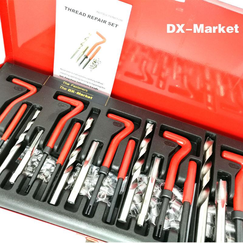 Ensemble de réparation de filetage 131 pièces, outils de réparation d'insert de filetage métrique m5 m6 m8 m10 m12 avec bobine 1.5D, H006-20 de costume d'étain