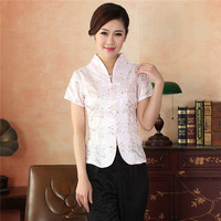 New Arrival Pink Women S Summer V Neck Shirt Chinese Traditional Embroidery Flower Blouse Tops Size