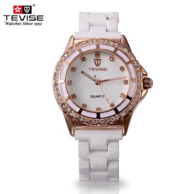 Fashion font b Women s b font Brand Quartz Watches White Ceramic Strap Original Ladies Water