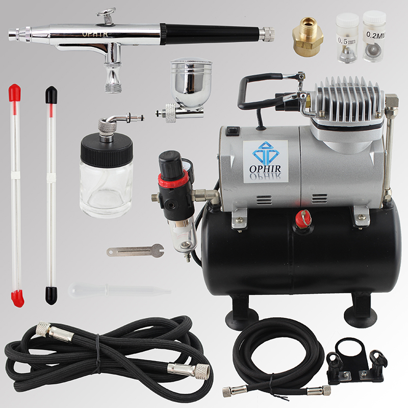OPHIR Pro Dual-Action Airbrush Kit with Air Tank Compressor for Cake Paint Nail Art Model Hobby Air Brush Spray Gun_AC090+AC074 ophir temporary tattoo tool dual action airbrush kit with air tank compressor for model hobby cake paint nail art ac090 ac004
