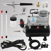 OPHIR Pro Dual Action Airbrush Kit with Air Tank Compressor for Cake Paint Nail Art Model Hobby Air Brush Spray Gun_AC090+AC074