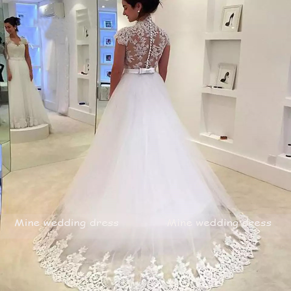 Image 2 - Wedding Dresses Appliques Lace with Belt Vestido de Noiva Robe de Mariee Back Zipper and Button Bride Dress-in Wedding Dresses from Weddings & Events