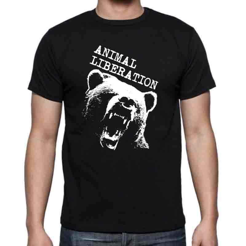 COOLMIND BE0112A 100% bawełna z krótkim rękawem o-neck animal libration niedźwiedź z nadrukiem męska koszulka casualowa wygodna męska koszulka topy