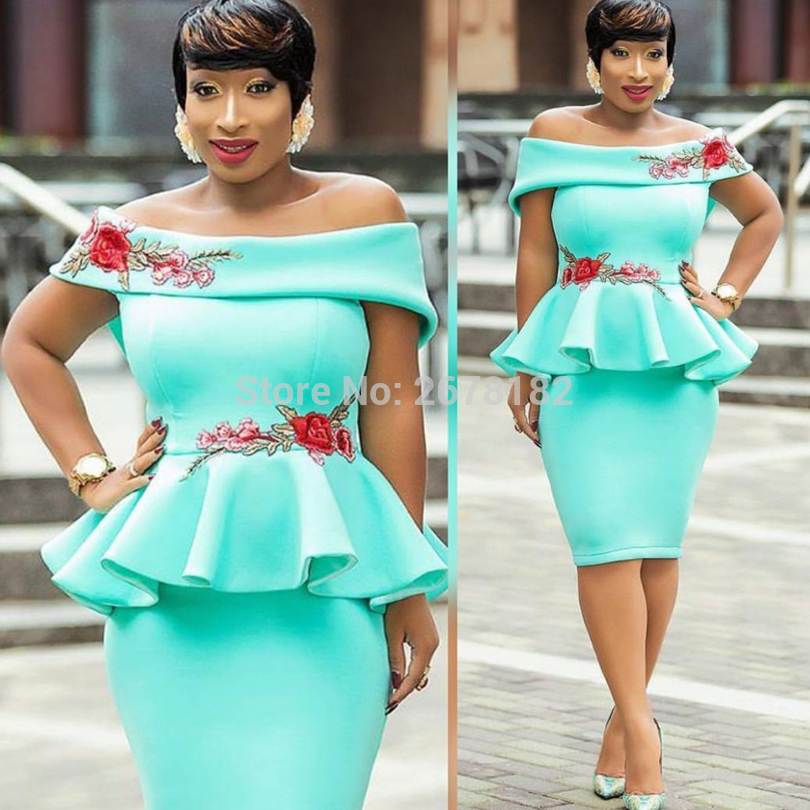 9a62e9ff1e9b Turquoise Pink Off Shoulder Slash Neck Floral Embroidery Package Hips Bodycon  Midi Dress Elegant Ladies Ruffles Peplum Dresses