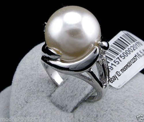 Hot sale new Style >>>>Fashion charming huge 14mm round south sea white shell pearl ring 8#