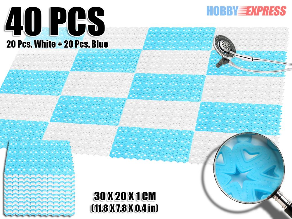 New 40 Pcs Blue And White Combination Plastic Flooring Interlocking Mat  Garden Tile Heart Pattern 30