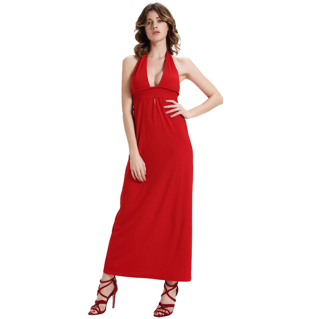 f937bcfd095 Summer Beach Dress Female Hot Red Dress red dresses for woman Backless Tie  Halter V Neck Plunge Cleavage Pin Up Long Maxi Dress