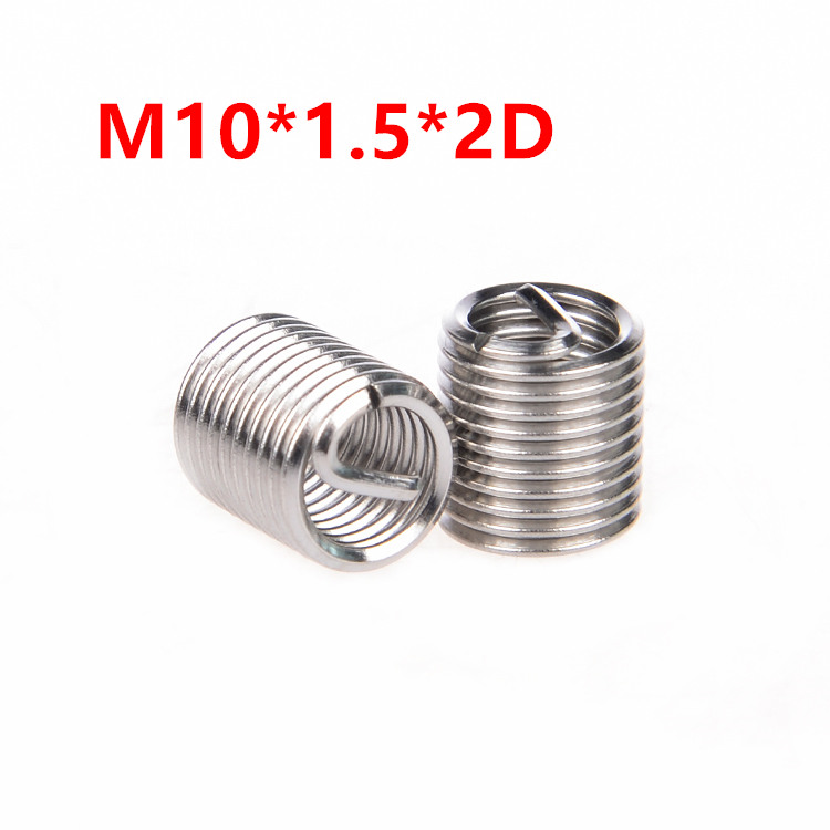 50pcs M10*1.5*2D Wire Thread Insert, M10x2D Wire Screw Sleeve, M10 Screw Bushing Helicoil Wire Thread Repair Inserts SUS304