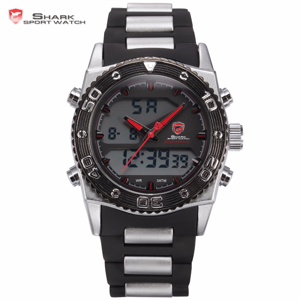 Cat Shark Sport Watch Scylorhinus LCD Dual Time Multifunction Date Alarm Men Rubber Band Digital Electronic Quartz Watches/SH175 drop shipping gift boys girls students time clock electronic digital lcd wrist sport watch july12
