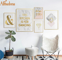 ALMUDENA Unframed Marble pattern Letters Oil Paint Canvas Art Print Poster Modular Oil Painting Home Decoration Wall Art Poster