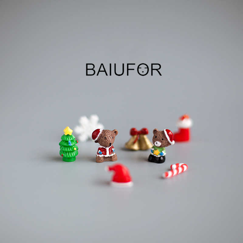 BAIUFOR Miniature Christmas Tree Santa Claus Snowmen Snow Duck Terrarium Accessories Fairy Garden Figurines Doll House Decor