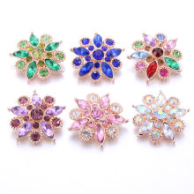 New Rhinestone Sun Flower 18mm Snap Button Snaps Jewelry Fit For Snap Button Bracelets&bangles Jewelry Wholesale Snaps(China)