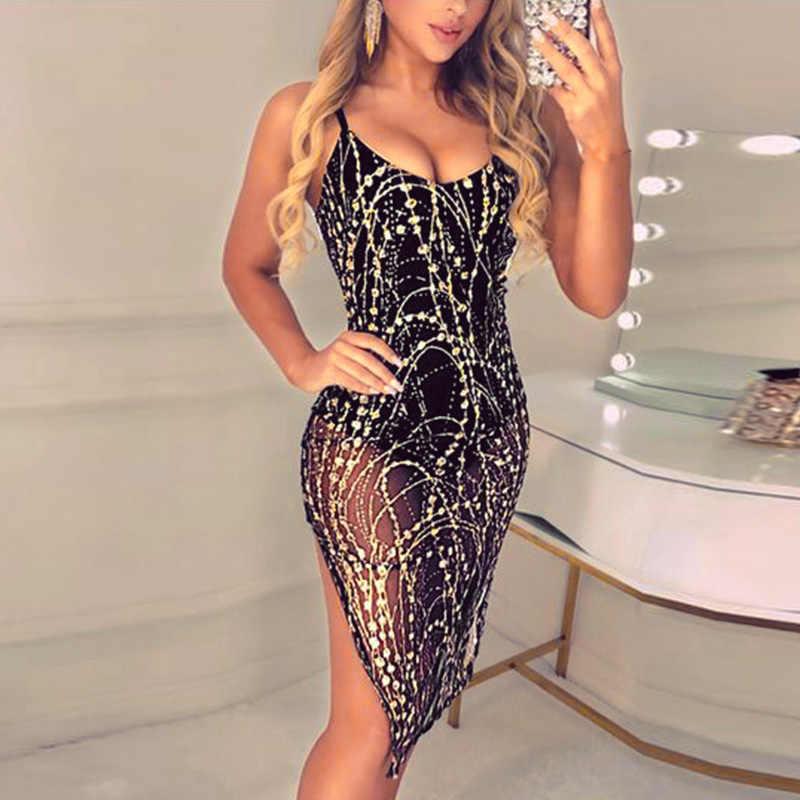 Женское сексуальное облегающее платье для вечеринки без рукавов коктейльное Клубное Короткое мини-платье черного цвета