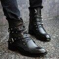 2016 Европейский Стиль Мужские Кожаные Черные Сапоги Панк Мартин Сапоги для Мужчины Revit Британских мужчин сапоги с Плюшевые botas masculina X090102