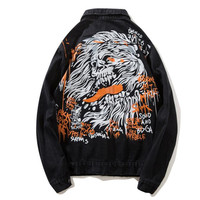 2018High street original rock denim jacket men's jacket Hip hop Personality graffiti A god of death streetwear black jacket