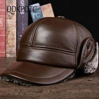 QDKPOTC New Genuine Leather baseball Hats Men Quality Russian Snow Hat Men Winter Hat Caps with Earflaps Thicken Outdoor Bonnet