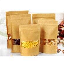 10 Pcs Papel Kraft Janelas Zifeng Dai Sacos de Presente de Embalagem de Chá de Nozes Frutas Secas Alimentos Bolsas Zipper Sacos De Vedação