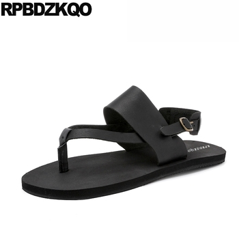 famous brand strap casual runway shoes native roman men gladiator sandals summer genuine leather breathable italian designer