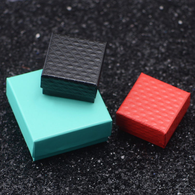 Fashion Black Red 2 Colors simple square cardboard Jewelry Box, Rings Earrings Boxes Display Packaging Gift Boxes