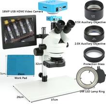 Промышленные Simul фокусных расстояний Тринокулярный Стерео микроскоп 7X90X1080 P 16MP USB HDMI видео Камера 8 «ЖК-дисплей работа подставка для пайки печатных плат