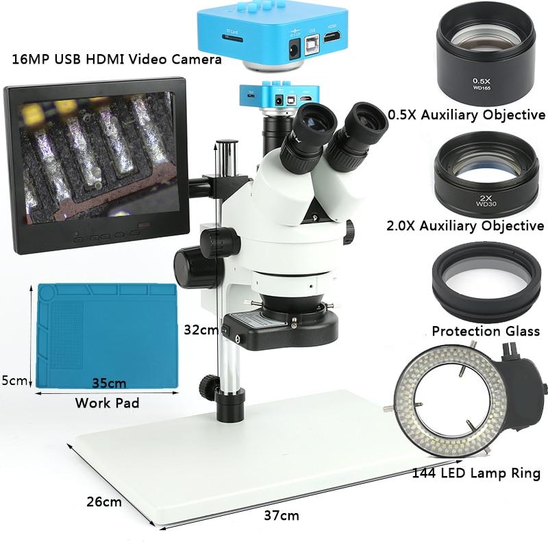 Industriale Simul Focale Trinoculare Stereo Microscopio 7X90X1080 p 16MP USB HDMI Video Macchina Fotografica 8