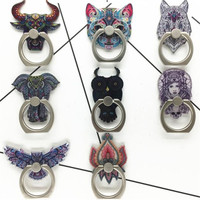 360 Degree Cat Owl Cow Animal Finger Ring Smartphone Stand Holder Mobile Phone Holder Stand For iPhone Acrylic All Smart Phone