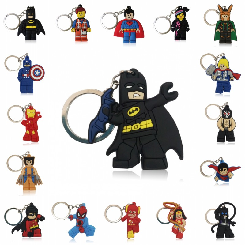 1pcs Superhero Keychain Aciton Figure Key Ring Anime Key Chain Batman Spiderman Key Holder Kids Gift Accessory Trinkets
