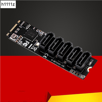 H1111Z Add On Cards M.2/M2 Adapter SSD M2 SATA Adapter Hard Disk M2 to SATA Card NGFF M.2 SATA Adapter 5 Ports SATA3 Riser Card