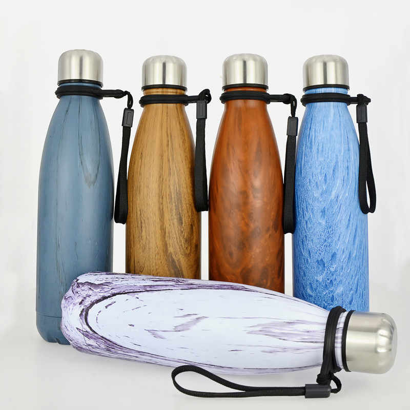 500ML Vacuum Thermos water bottles Wood pattern Stainless steel Cola Sports bottle for water BPA free drinking water bottles