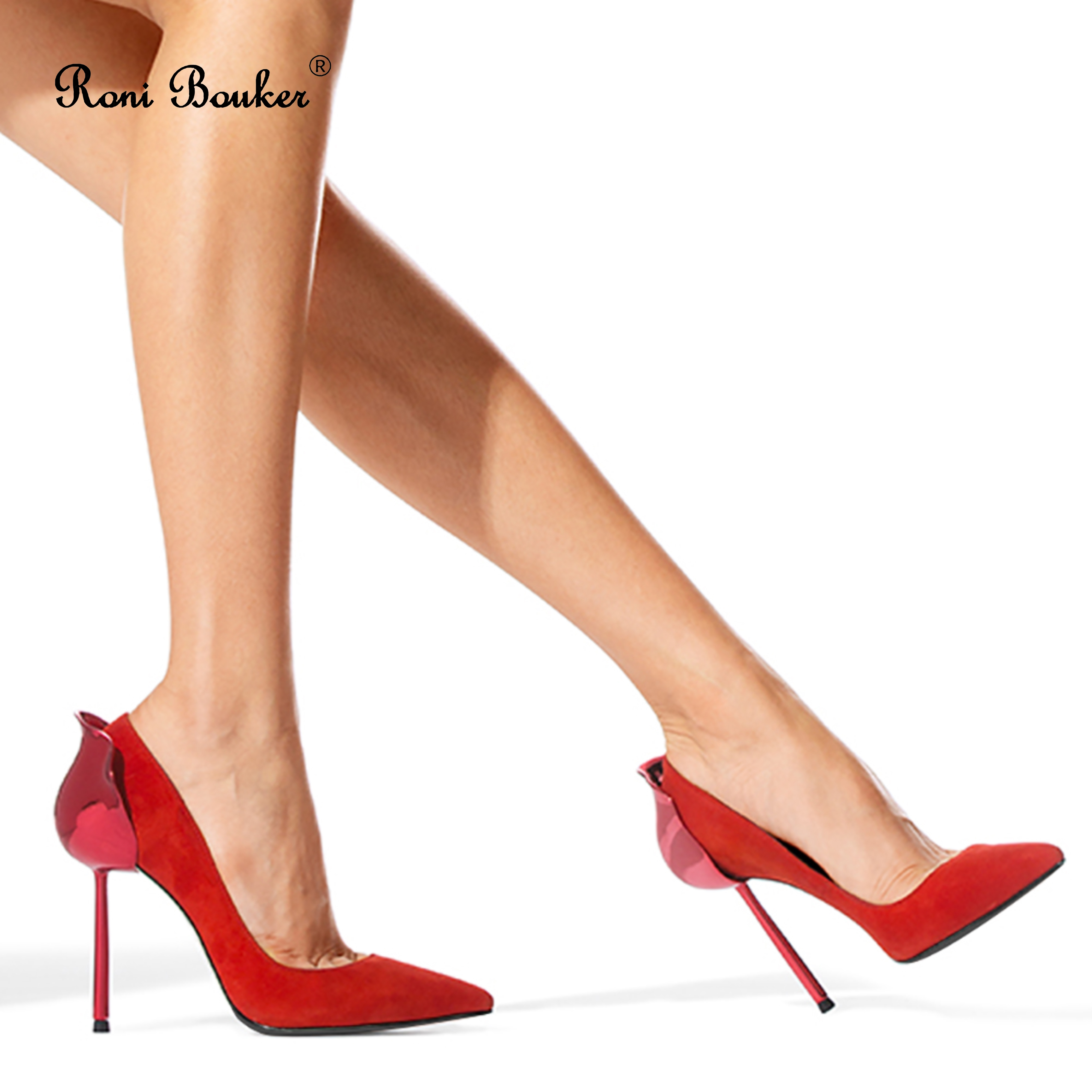 Roni Bouker Women Suede Leather Wedding Shoes Woman Electroplate High Heels Female Fashion Design Pumps Handmade Black RedRoni Bouker Women Suede Leather Wedding Shoes Woman Electroplate High Heels Female Fashion Design Pumps Handmade Black Red