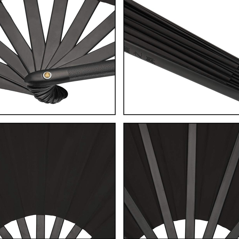 Image 4 - 2 Pieces Large Folding Fan Nylon Cloth Handheld Folding Fan Chinese Kung Fu Tai Chi Fan Black Decoration Fold Hand Fan For Par-in Decorative Fans from Home & Garden