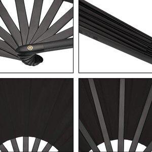 Image 4 - 2 pezzi di Grandi Dimensioni Pieghevole Fan Telo di Nylon Portatile Pieghevole Fan Cinese Kung Fu Tai Chi Fan Nero Decorazione Piega A Mano ventilatore Per Il Par