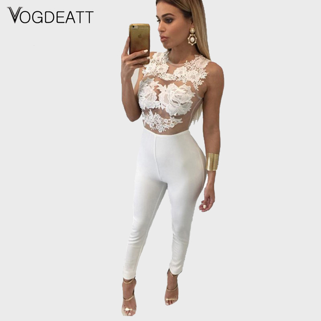 d75f03d5015 Fashion Sexy women bodycon Jumpsuit White Black Lace Jumpsuits   Rompers  Womens Sheer Lace Club Catsuit macacao feminino