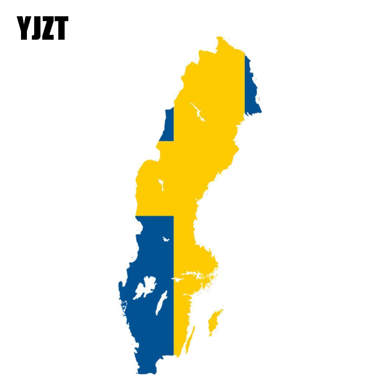 YJZT 7.3CM*17.2CM Personality Sweden Map Car Styling Motorcycle Flag Car Sticker Decal 6-0844