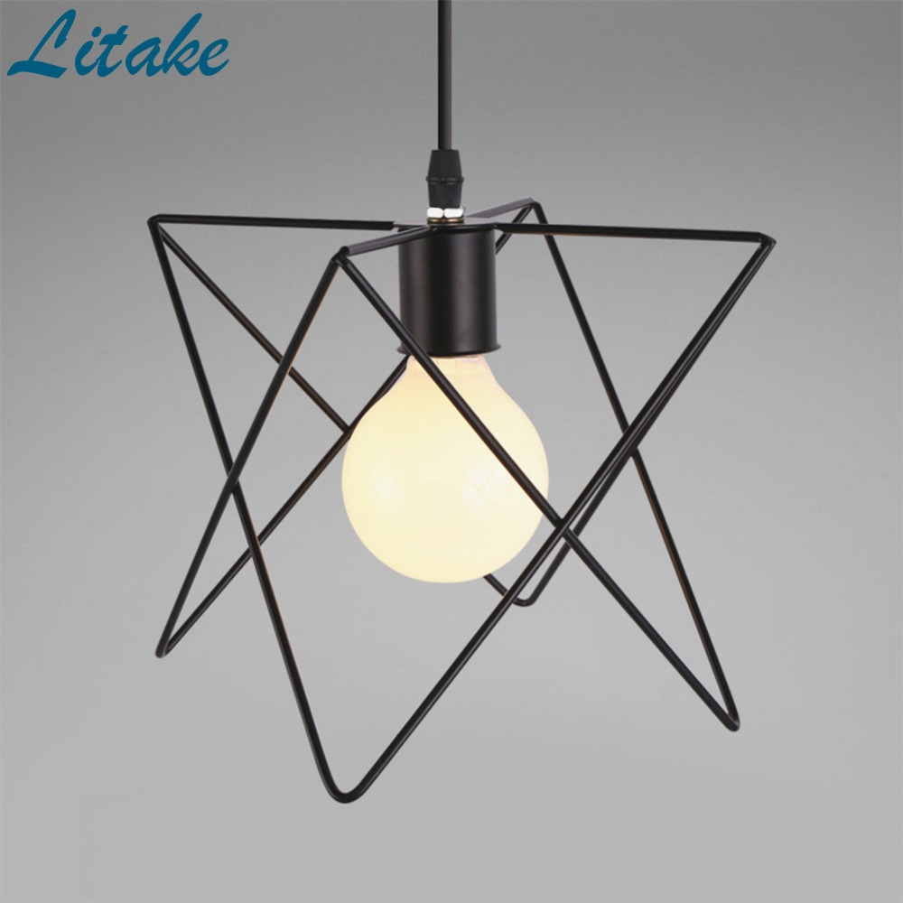 Litake E27 Creative Industrial Style Simple Iron Vintage Pendant Lamp Fixture Chandelier Cage Lampshade jk30 led lamp creative lights fabric lampshade painting chandelier iron vintage chandeliers american style indoor lighting fixture
