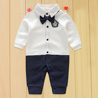 2pcs Lot Newborn Baby Romper Clothes Spring Autumn Party Bow Tie Gentleman Baby Boy Cotton Kid